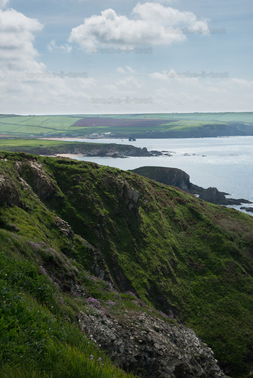 Thurlestone Rock from the south west coastal path