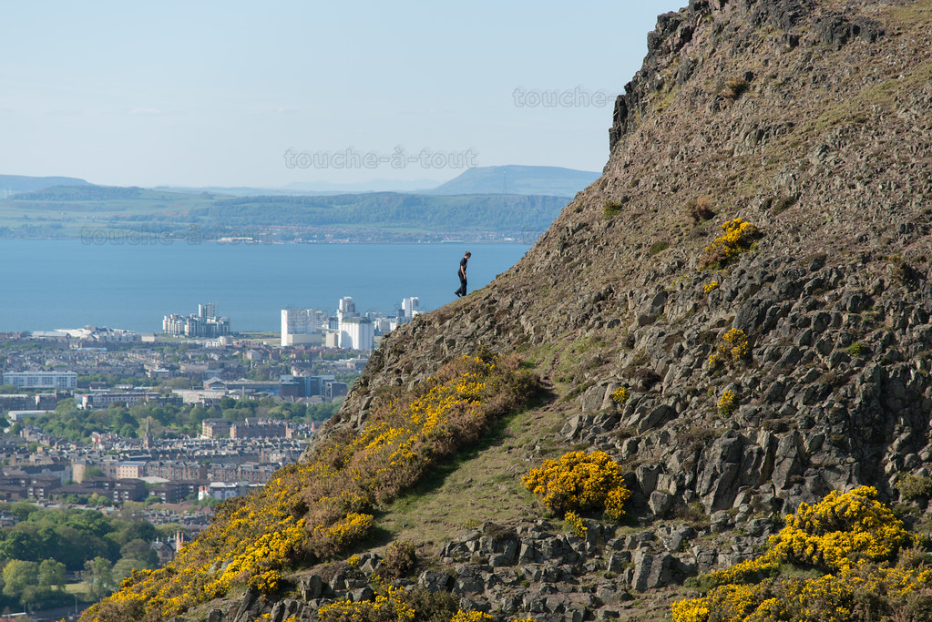 Climber on Arthur's Seat, Edinburgh