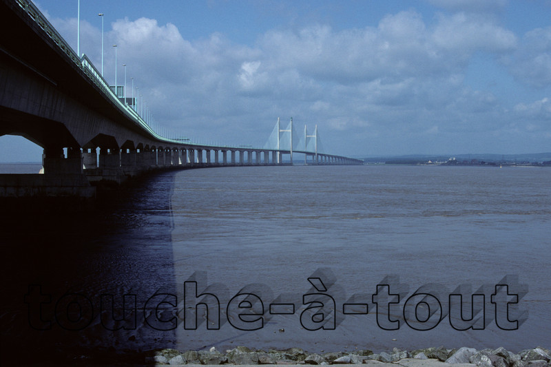 The Severn Bridge, Bristol Channel<br /> Looking from England to Wales across the Severn estuary