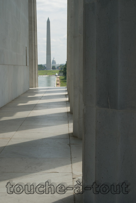 Looking towards Washington Monument and the Capitol from the Lincoln Memorial