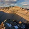 two dams of mountain reservoir in Colorado