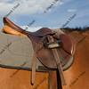 English style saddle on a bay horse