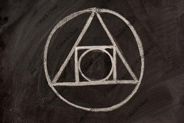 alchemy symbol on a blackboard