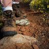 hiker feet on a mountain trail