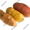 three new fingerling potatos isolated on white