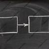two blank rectangles and arrow on blackboard