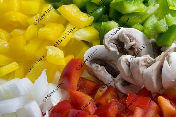 pepper, mushroom and onion diced