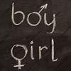 boy and girl  words with gender symbols on blackboard