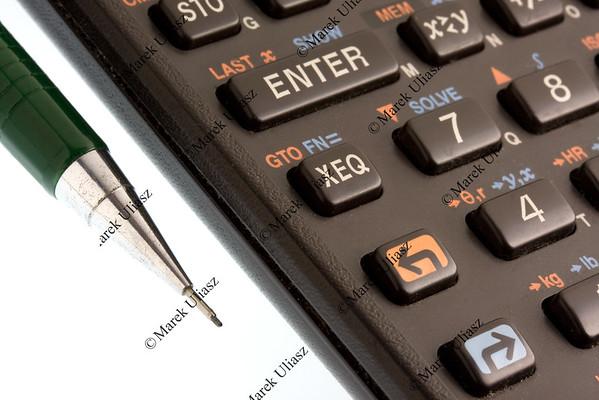 scientific programmable calculator detail and pencil