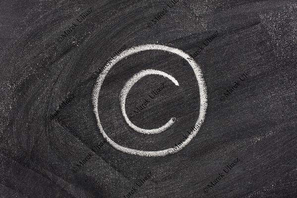 copyright symbol on blackboard