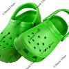 bright green plastic clogs