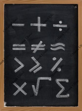 equation shapes - mathematical symbols on blackboard