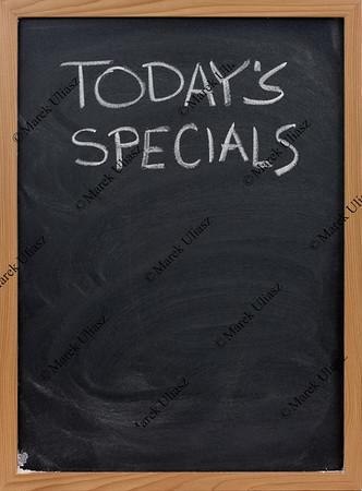 todays specials on blackboard in vertical