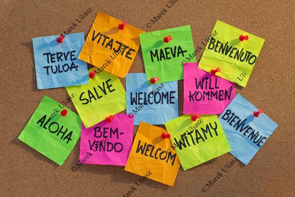 welcome, willkommen, bienvenue, aloha, ...