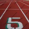 lane number five on red running tracks