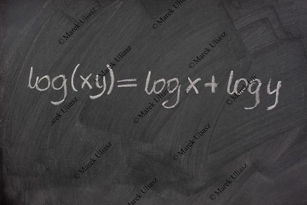 logarithm formula on a school blackboard