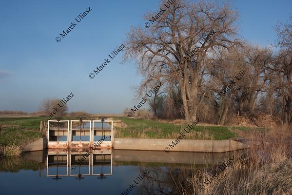 water irrigation channels in Colorado farmland