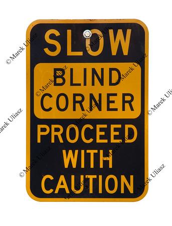 blind corner warning sign