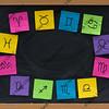 western zodiac symbols on blackboard
