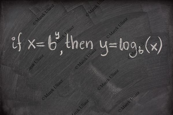 logarithm definition on a school blackboard