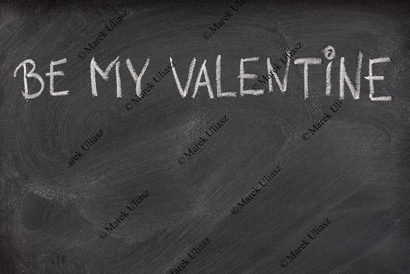 be my Valentine on a blackboard