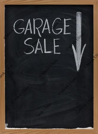 garage sale blackboard sign