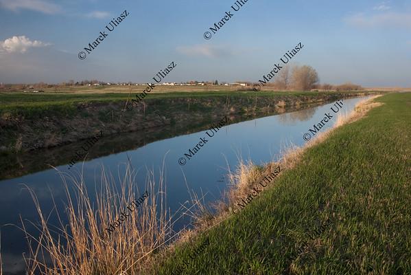 irrigation channel in Colorado farmland