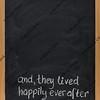 fairytale happy end phrase on blackboard