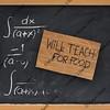 will teach for food - cardboard sign on blackboard