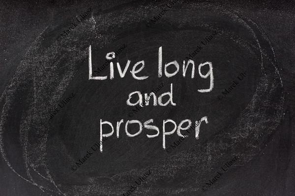 live long and prosper salute on blackboard