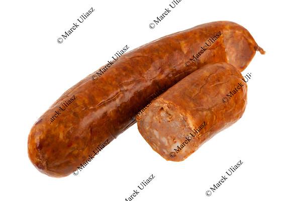 cooked chorizo sausage on white
