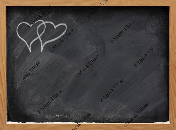 be my Valentine - interlaced hearts on a blackboard