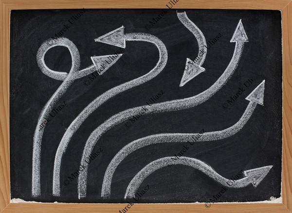 line and arrow abstract on blackboard