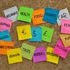 household finance - word cloud on cork board