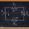 electric circuit schematic on blackboard
