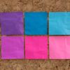 blue, pink, magenta reminder notes