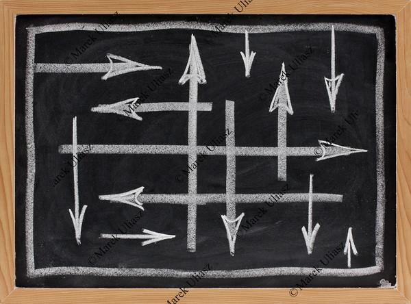 random directions - vector abstract on blackboard