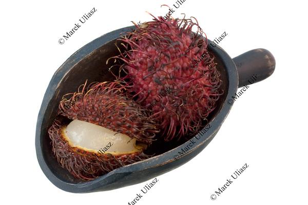 scoop of rambutan fruits