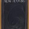 now serving on blank blackboard