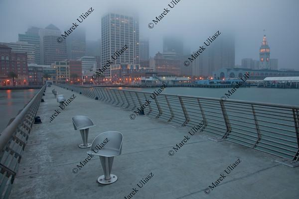 San Francisco skyline on a foggy morning