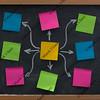 sticky notes on blackboard mind map