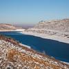 mountain reservoir in winter scenery