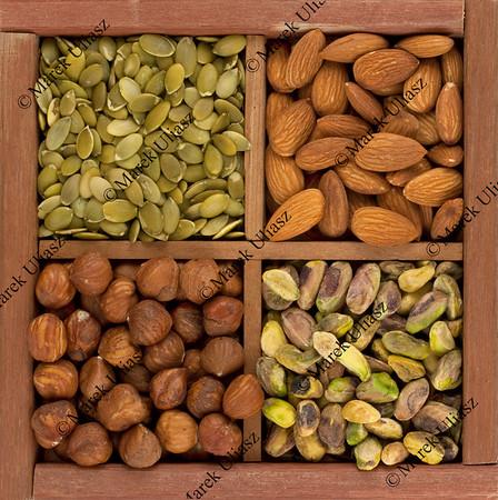 almonds, hazelnuts, pistachio nuts and pumpkin seed