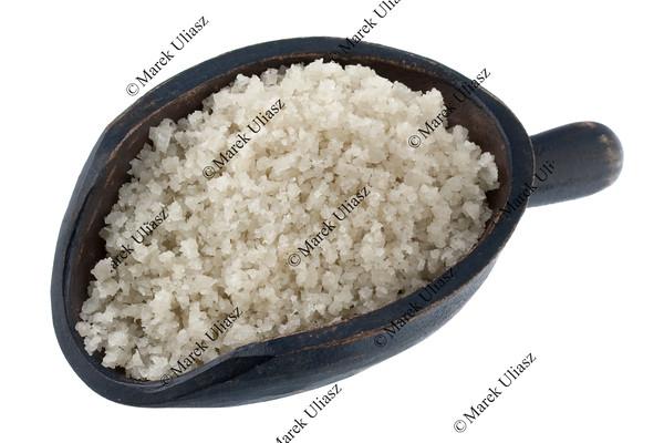 scoop of gray sea salt