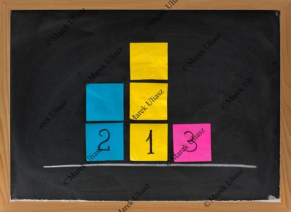 representation of three level podium on blackboard
