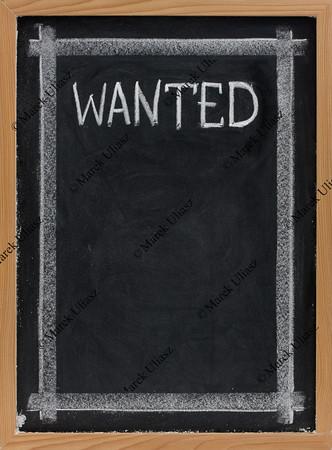 wanted - blank blackboard sign