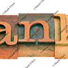 thanks - word in letterpress type