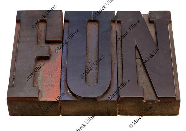 fun word in letterpress type