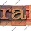 draft word in letterpress type