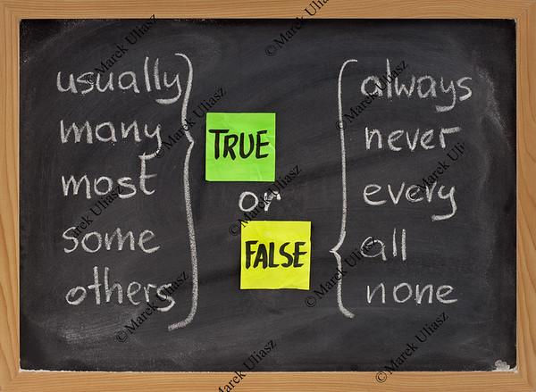 true or false words